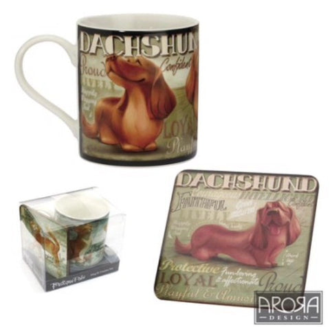 My Pedigree Pals Dachshund Dog Mug & Coaster Set