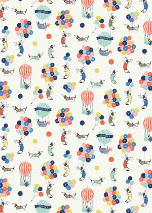 Hooray It's Your Birthday, Dachshund & Hot Air Balloons Gift Wrap