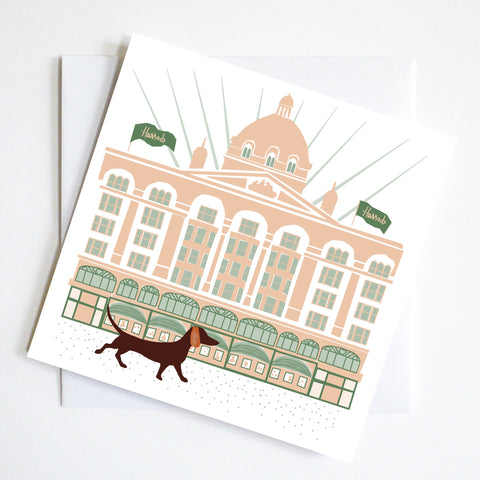 Harrods Dachshund Greeting Card