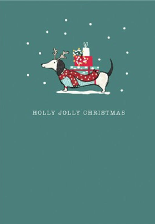 Holly Jolly Dachshund Christmas Single Greeting Card