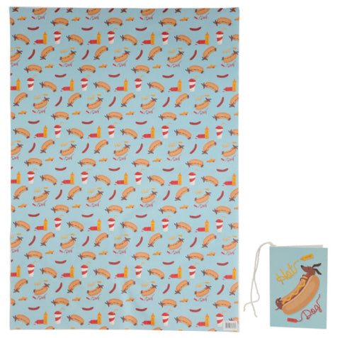 Sausage Dog Fast Food Gift Wrap & Tag