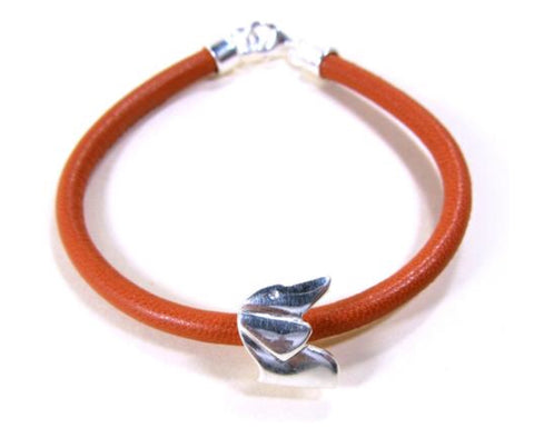 Silver & Leather Dachshund Bracelet