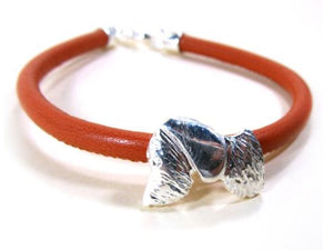 Wire-haired Silver And Leather Dachshund Bracelet