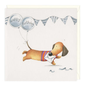 Balloon Tail Dachshund Birthday Greeting Card