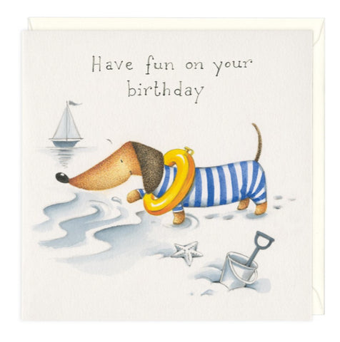 Beach Fun Dachshund Birthday Greeting Card