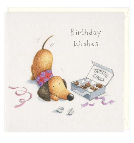 Special Chocs Dachshund Birthday Greeting Card