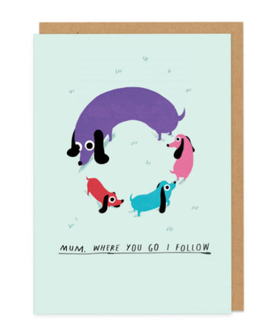 Sausage Dog Circle Greeting Card