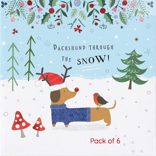 dachshund through the snow pack of 6 christmas greeting cards