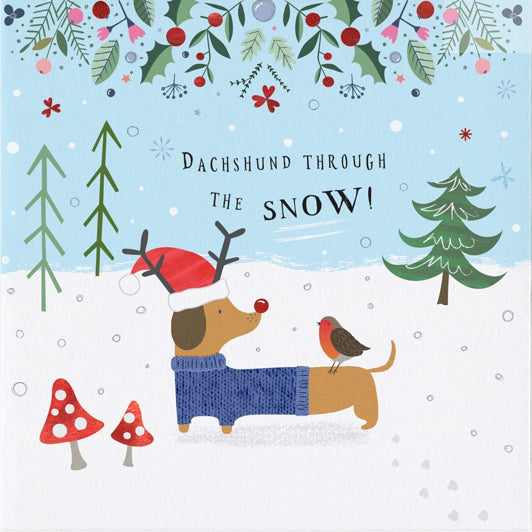 Christmas Greeting Images.Dachshund Through The Snow Christmas Greeting Card