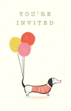 Ten Dachshund Invitations & Envelopes