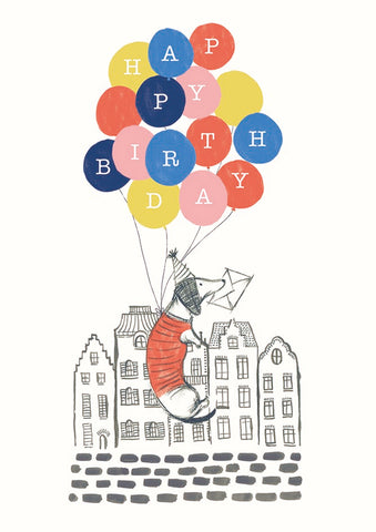 Dachshund Birthday Balloons Greeting Card