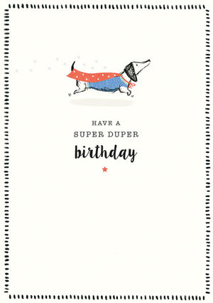 Super Duper Dachshund Birthday Greeting Card
