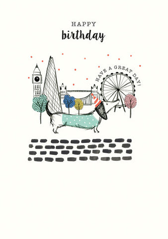 Tourist Dachshund Happy Birthday Greeting Card