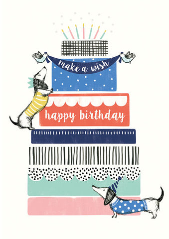 Dachshund Cake Tower Birthday Greeting Card