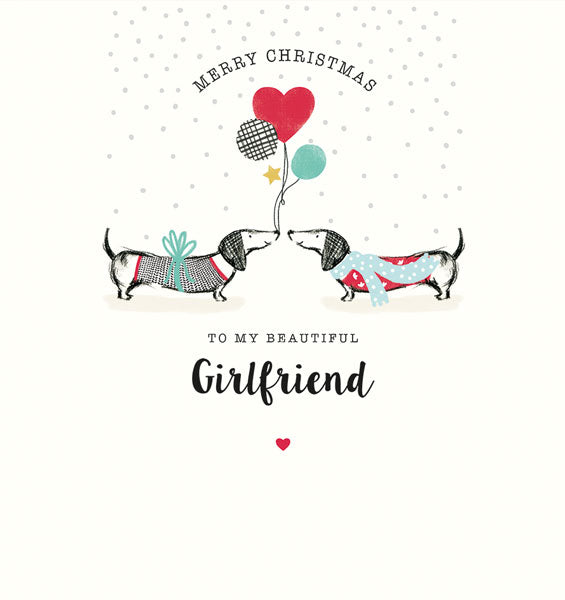 """ Merry Christmas To My Beautiful Girlfriend"" Dachshund Greeting Card"