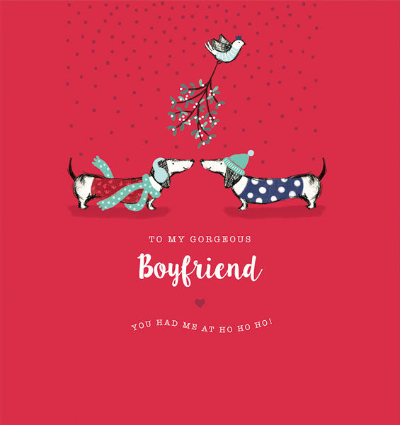 """To My Gorgeous Boyfriend"" Dachshund Christmas Greeting Card"