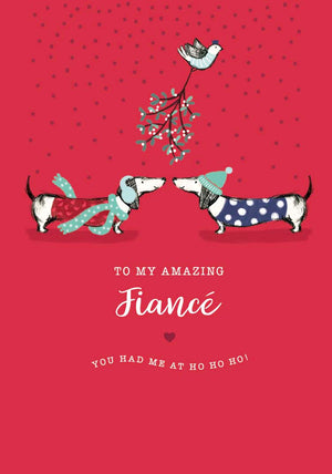 """To My Amazing Fiancé "" Dachshund Christmas Greeting Card"