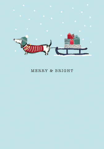 """Merry & Bright"" Dachshund Christmas Greeting Card"