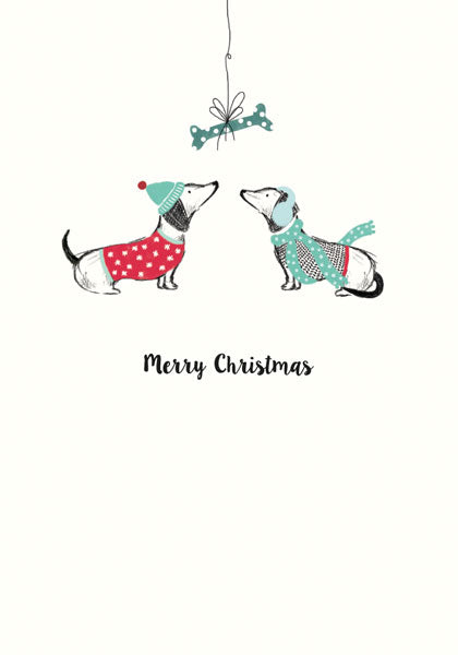 """Merry Mistletoe"" Dachshund Christmas Greeting Card"