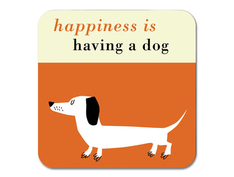 Happiness Sausage Dog Coaster