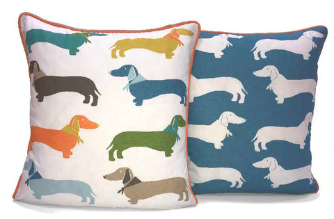 Multicoloured Sausage Dog Reversible Cushion Covers