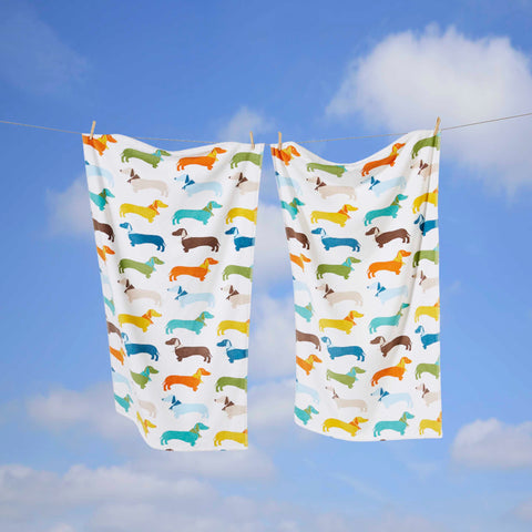 Multicoloured Print Sausage Dog Towels