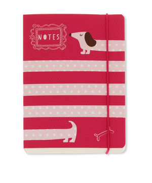Sausage Dog Pink Polka A6 Notebook
