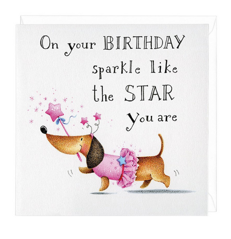 Dachshund Birthday Sparkle Greeting Card