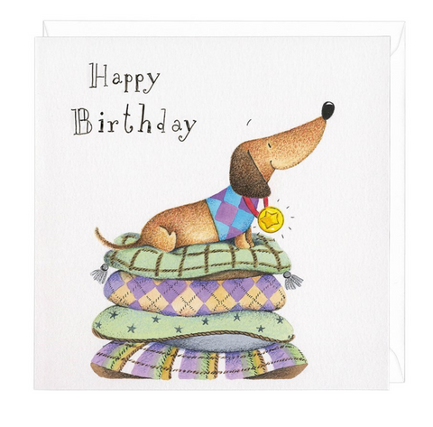 Dachshund Happy Birthday Medal Greeting Card