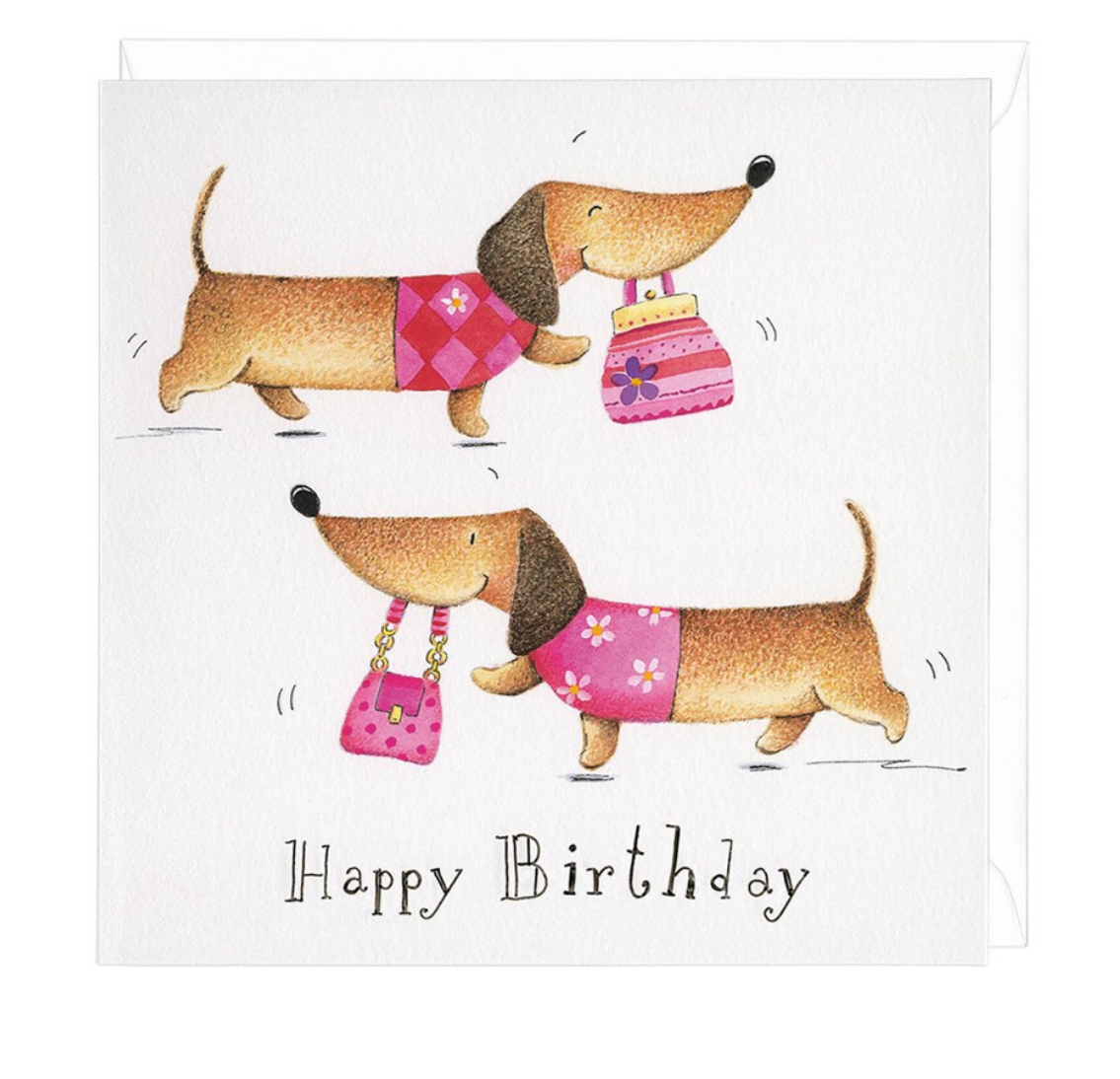 Dachshund birthday shopper greeting card m4hsunfo