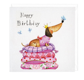 Happy Birthday Princess Dachshund Greeting Card