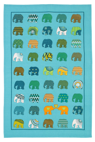 Elephant Parade Elephant Herd Cotton Tea Towel