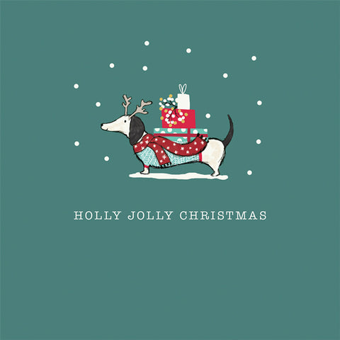 """Holly Jolly Christmas""Dachshund Charity Christmas Greeting Cards"
