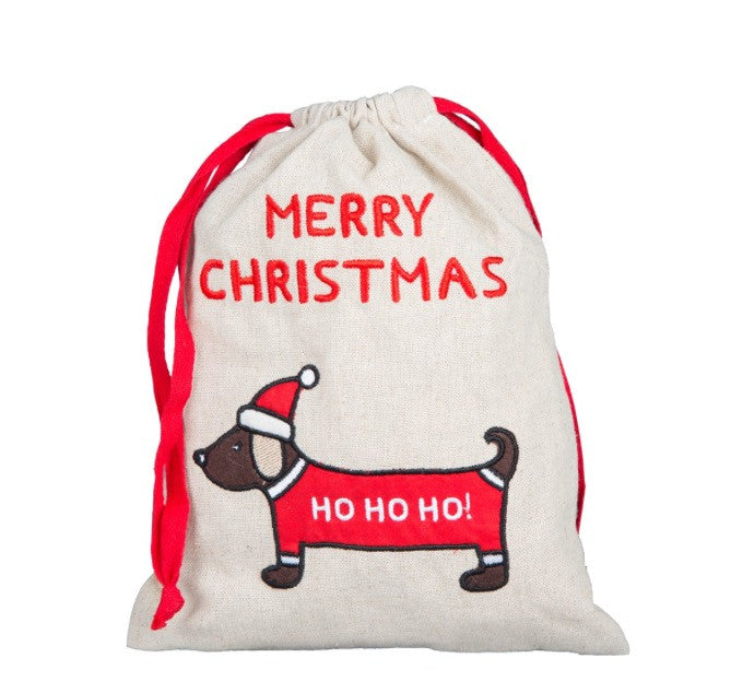 Dachshund Merry Christmas Cloth Drawstring Gift Bag