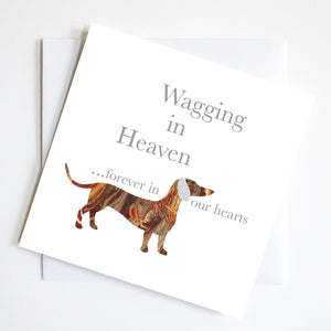 Wagging In Heaven Dachshund Greeting Card
