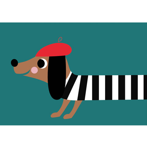 French Sausage Dog Greeting Card