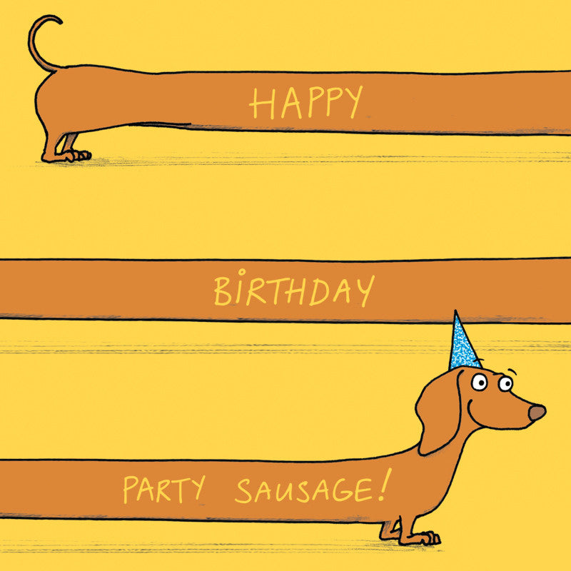 """Happy Birthday Party Sausage"" Greeting Card"