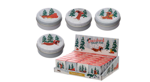 Dachshund Through The Snow Christmas Lip Balm In A Tin