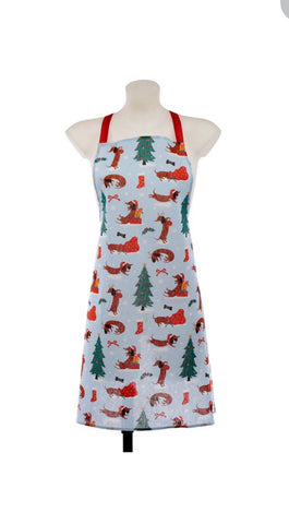 Dachshund Through The Snow Christmas Apron and Tea Towel Set