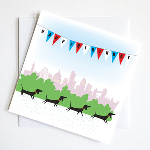 London Run Birthday Dachshund Greeting Card
