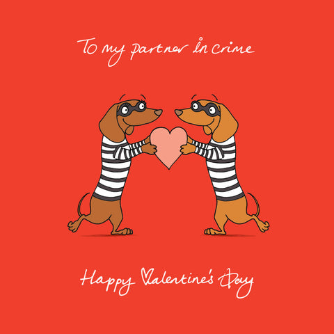 """Partner In Crime"" Dachshund Themed Valentine Card"