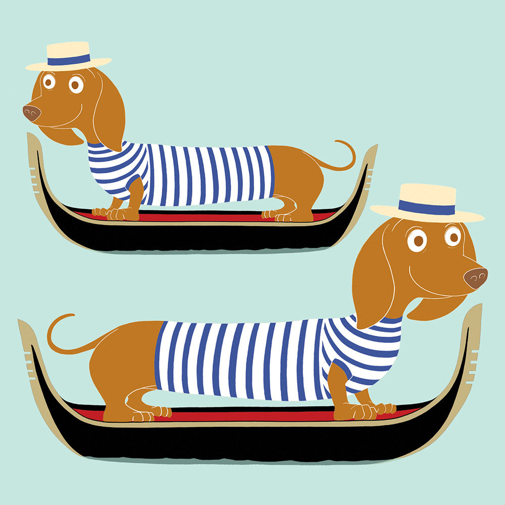 """Doggy Paddle"" Dachshund Greeting Card"