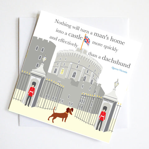 Windsor Castle Dachshund Greeting Card