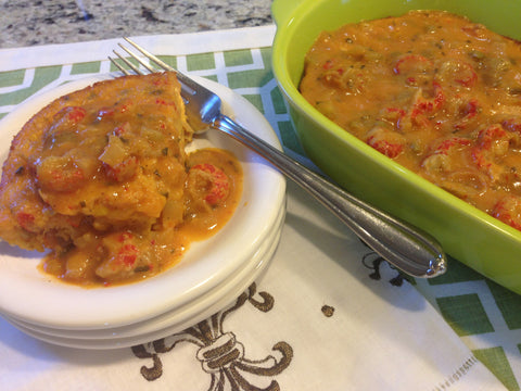 Crawfish Cornbread with Crawfish Etouffee Topping