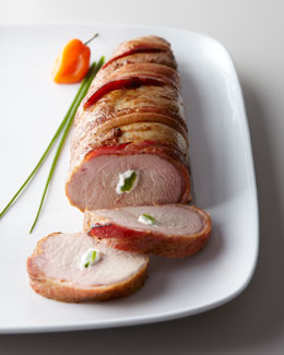 Pork Tenderloin Stuffed with Cream Cheese, Jalapeno's and wrapped in Bacon