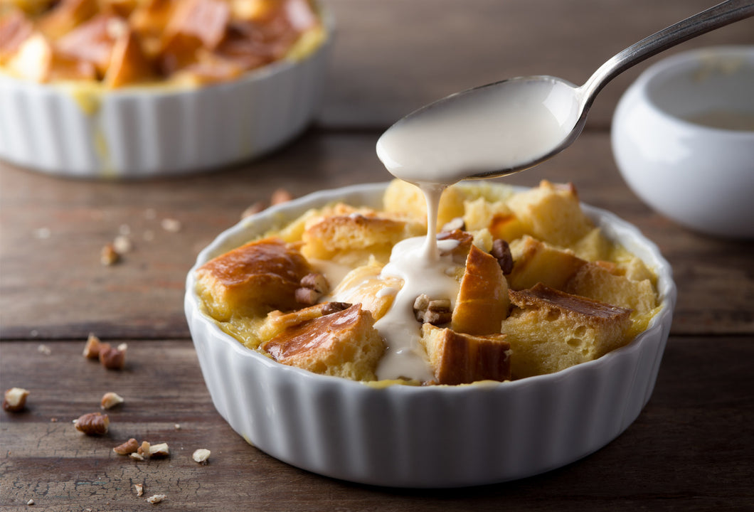 Bread Pudding with White Chocolate Sauce