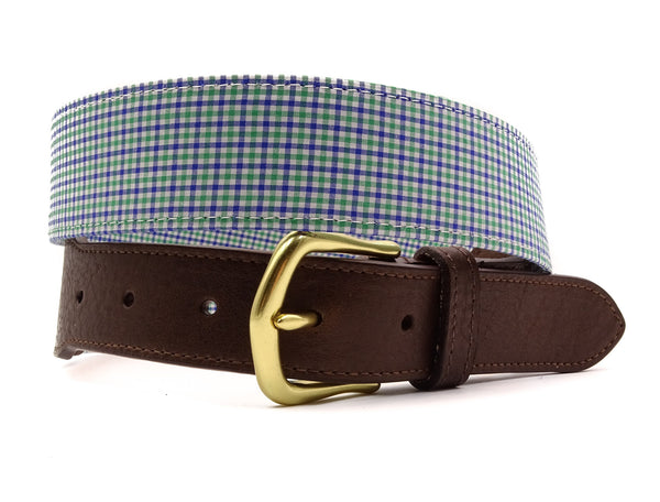 Blue & Green Willow Cotton Leather Tab Belt - FH Wadsworth