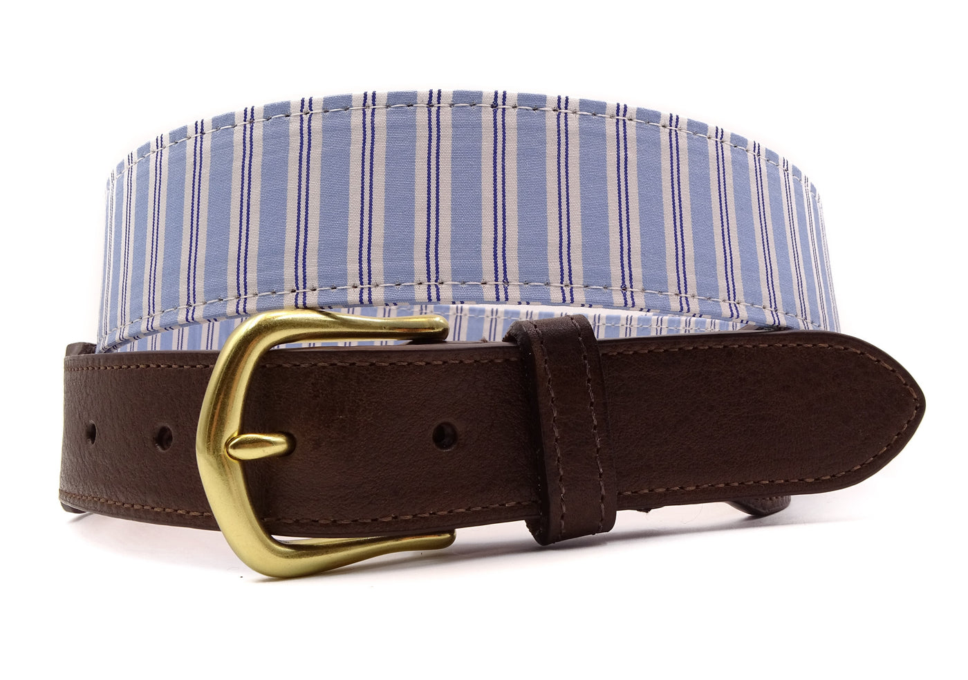 Carolina Blue Striped Cotton Leather Tab Belt - FH Wadsworth