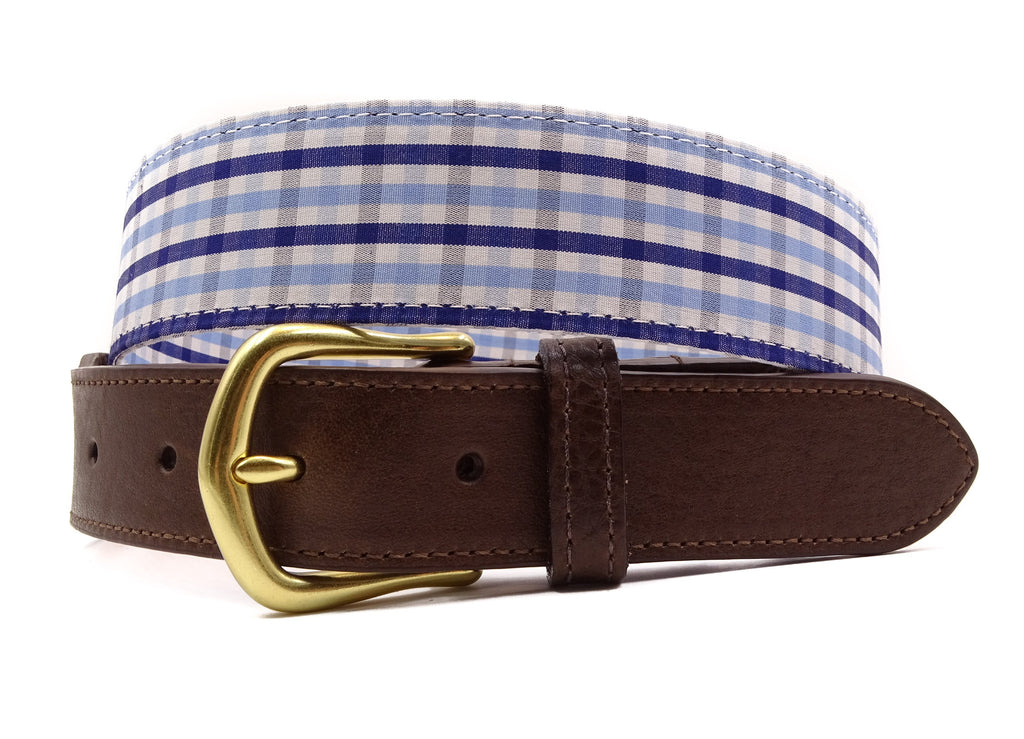Blue Cotton Leather Tab Belt - FH Wadsworth
