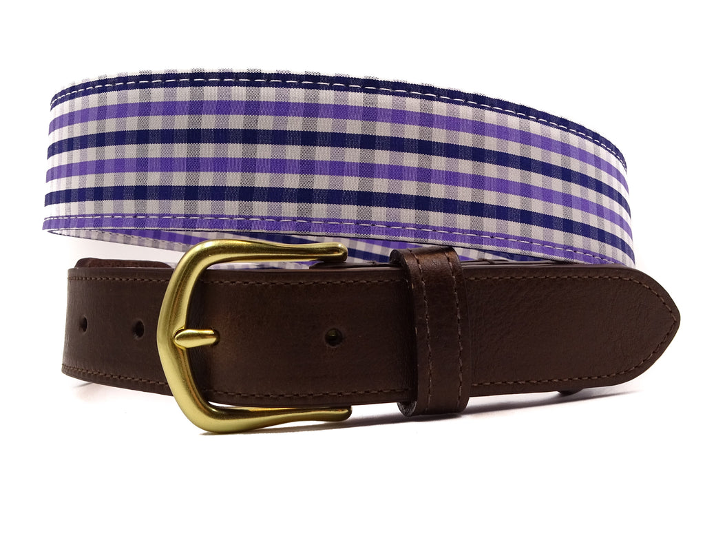 Purple Cotton Leather Tab Belt - FH Wadsworth